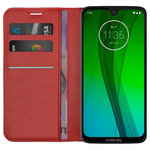 Leather Wallet Case & Card Holder - Motorola Moto G7 / G7 Plus - Red